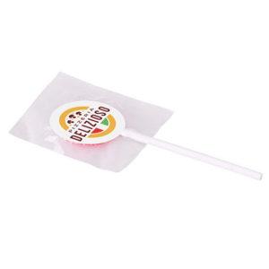 Platte lolly met sticker